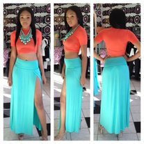Mint Double Split Maxi Skirt
