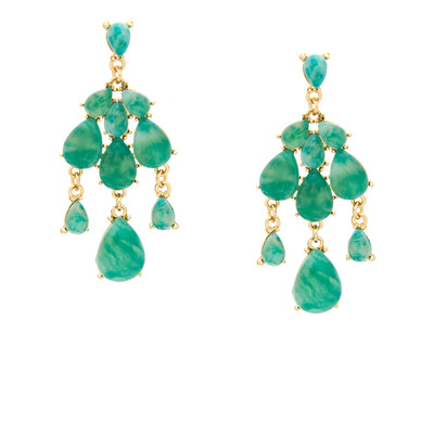 Due drop marble earrings - jade