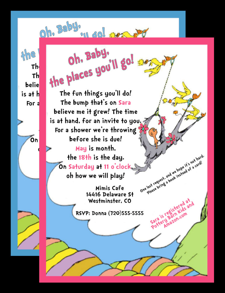 Dr Seuss Baby Shower Invitation, YOU Print · 5280 Paper Crafts ...