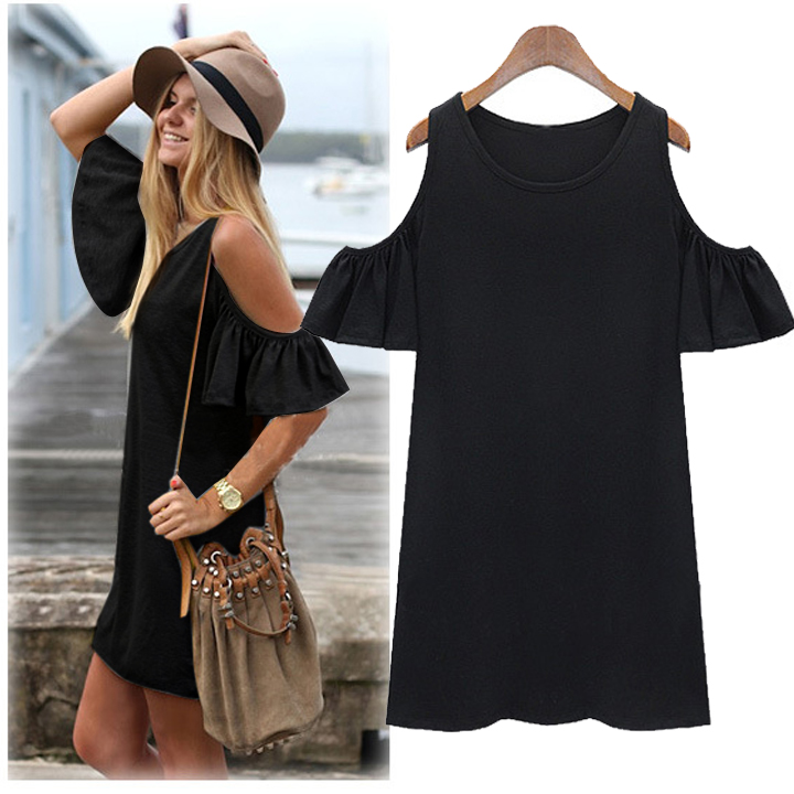 Women Butterfly Sleeve Cotton Cute Strap Off Shoulder Vest Dress