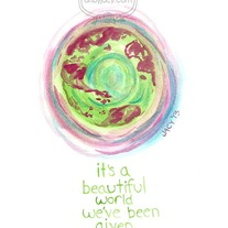 """It's A Beautiful World"" 8x10 Matte Print Inspiring Watercolor Quote Illustration"