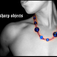 Cobalt Brick - chunky handmade glass beaded necklace - Thumbnail 2