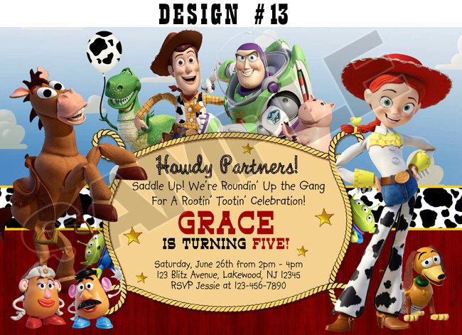 Blitzdesignz Toy Story 1 2 3 Birthday Party Photo Invitations