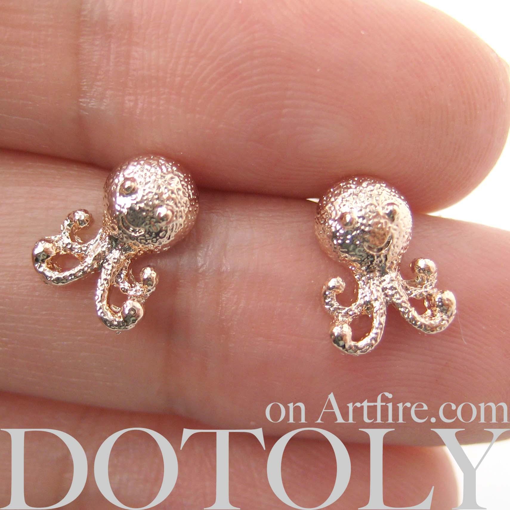Dotoly Plus | Small Cute Octopus Squid Sea Animal Stud Earrings in ...