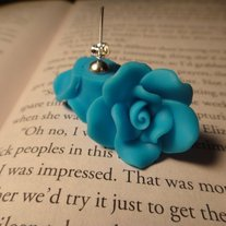 Light Blue Rose Stud Earrings