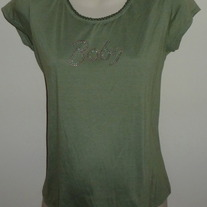 Green Shirt Says Baby-Agenda Maternity Size Medium  CL413