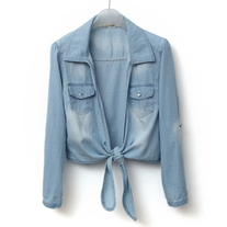 Denim blouse with self tie