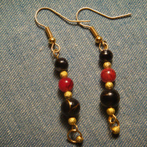 Black, Red & Gold Dangle Earrings
