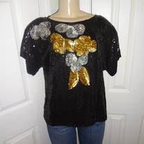 Vintage Black Gold and Silver Sequins Top Size M/L