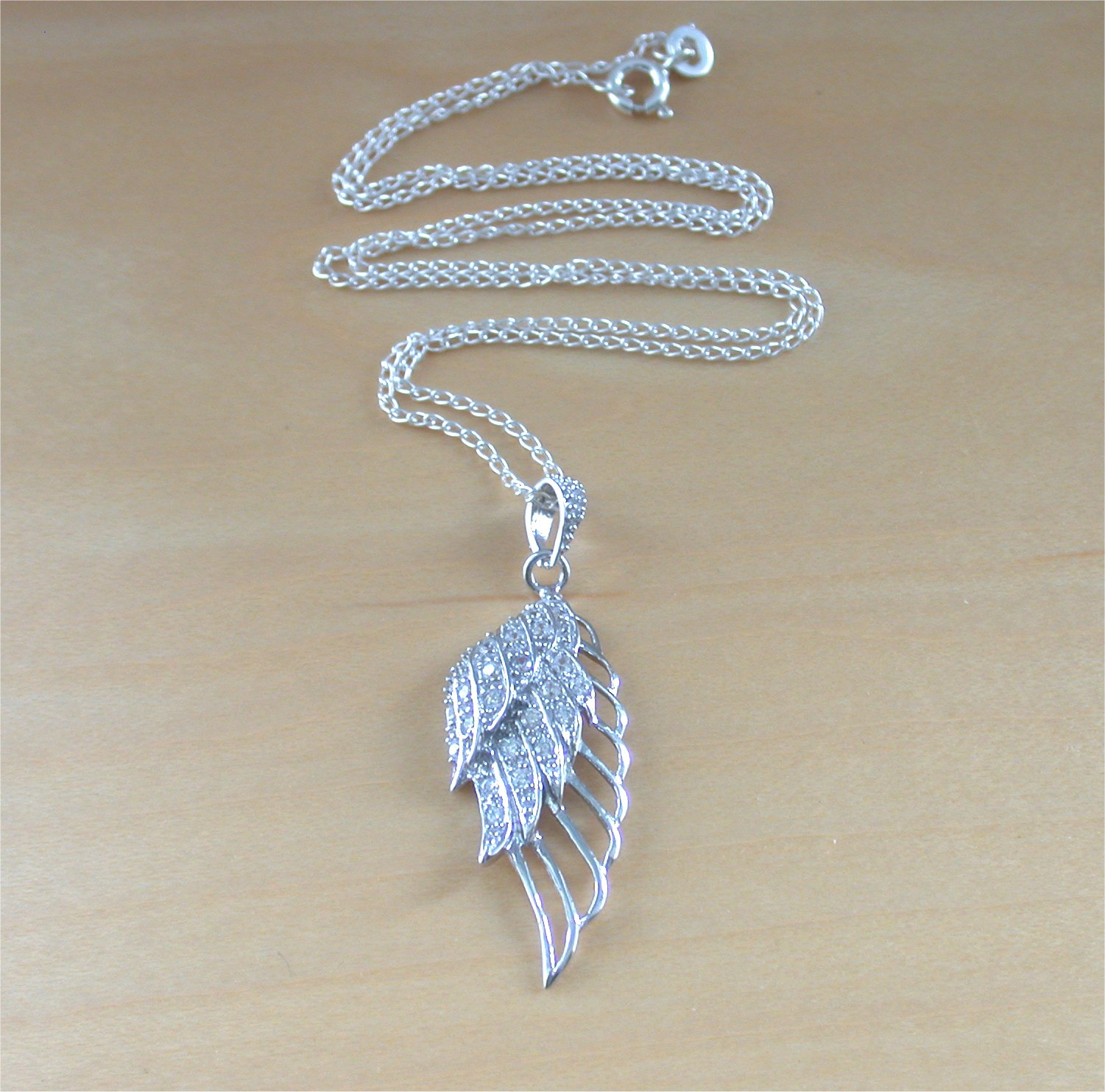 925 angel wing pendant 18sterling silver chainsilver crystal 925 angel wing pendant 18sterling silver chainsilver crystal angel wing necklace aloadofball Images