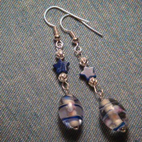 Blue Millefiori Glass Earrings