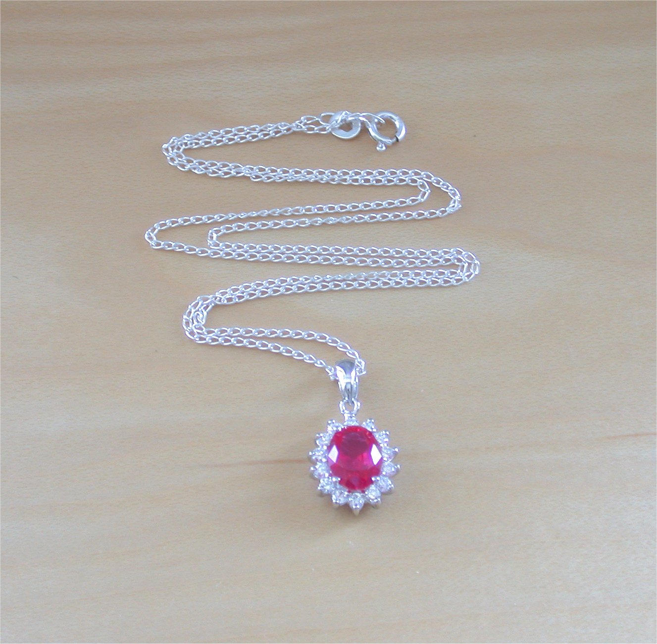 925 ruby lab created oval pendant 18 silver chainruby 925 ruby lab created oval pendant 18 silver chainruby jewellery aloadofball Choice Image