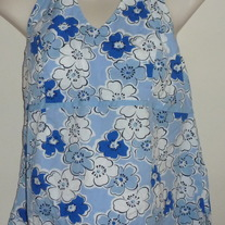 White/Royal Blue/Light Blue Floral Halter Top-Motherhood Maternity Size Medium  GS513