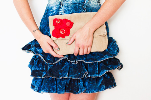 Red Bouquet Corduroy Clutch/Pouch by Sardinella Sardine