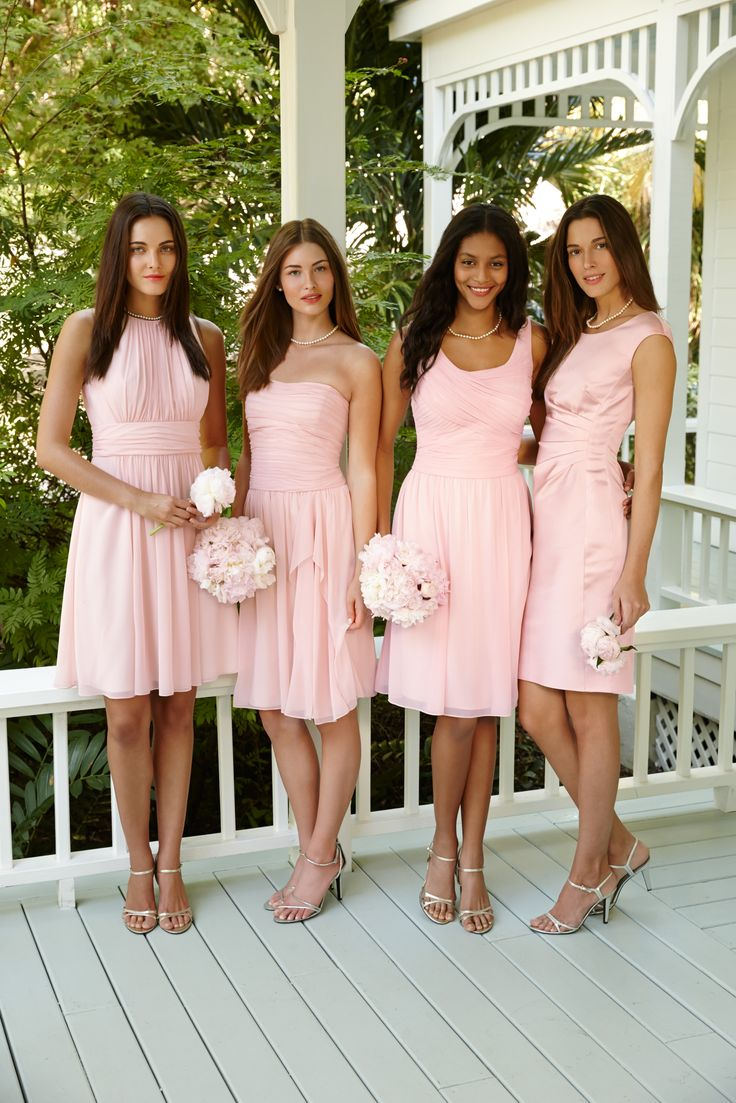 short bridesmaid dresses, baby pink bridesmaid dresses, modest ...