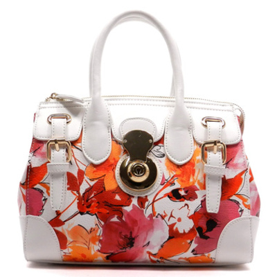Flower printed buckle satchel