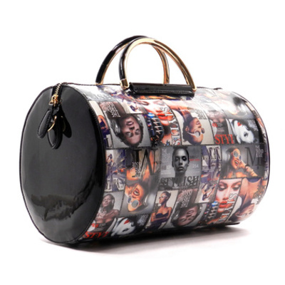 Magazine cover collage cylinder tote