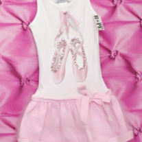 Hope Jeans Pink Tutu/Ballet Slippers Dress -White