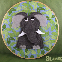 Felt Embroidery Hoop Art – Ira the Elephant