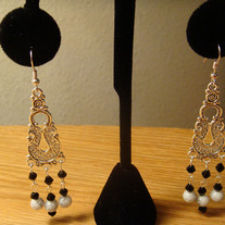 Black Crystal & White Glass Marble Chandelier Earrings