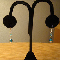Blue Glass & Crystal Earrings