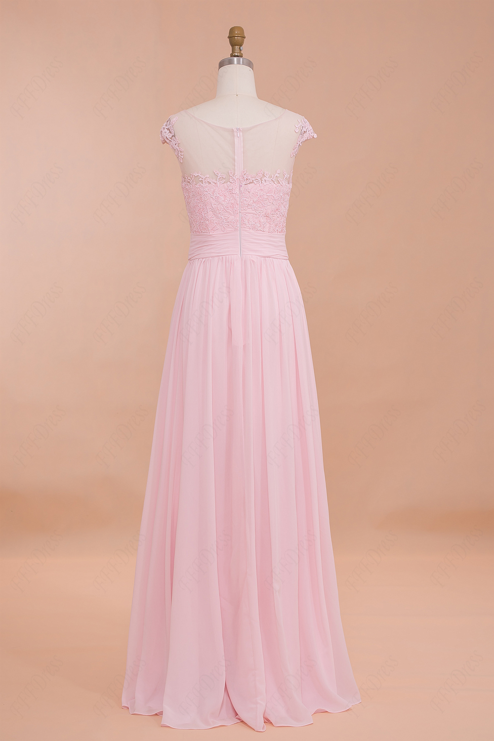 Classy modest pink prom dresses cap sleeves bridesmaid for Red wedding dresses with sleeves