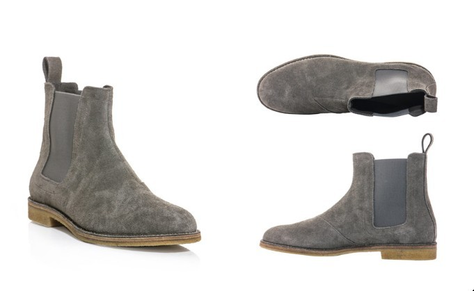 handmade mens gray chelsea suede leather boots suede
