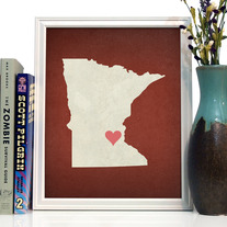 Image of Minnesota State LOVE, Giclee Art Print, 8 x 10 inches