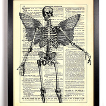Image of Skeleton With Wings, Vintage Dictionary Print, 8 x 10