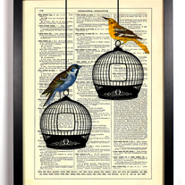 Image of Two Birds Enjoying The Day, Vintage Dictionary Print, 8 x 10