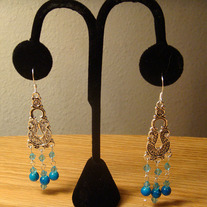 Aqua Crystal & Glass Marble Chandelier Earrings