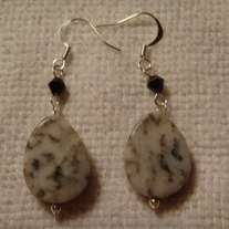 Black & White Marble Teardrop with Black Crystal Earrings