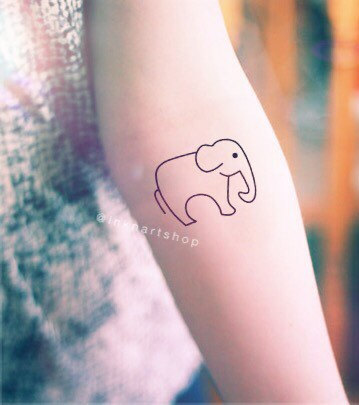 2pcs elephant trunk down outline tattoo inknart for Temporary elephant tattoo