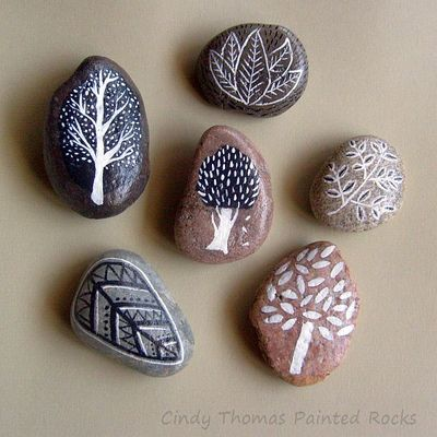 Abstract trees & leaves painted rocks (set of 6) - free usa shipping