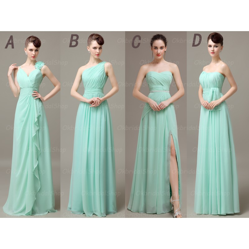 Long bridesmaid dresses mismatched bridesmaid dresses for Mint and gold wedding dress