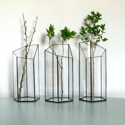 Set Of Three Vases Vase Minimalist Glass Vase Geometric Vase