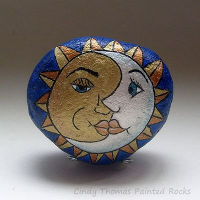 Metallic sun/moon painted rock- free usa shipping
