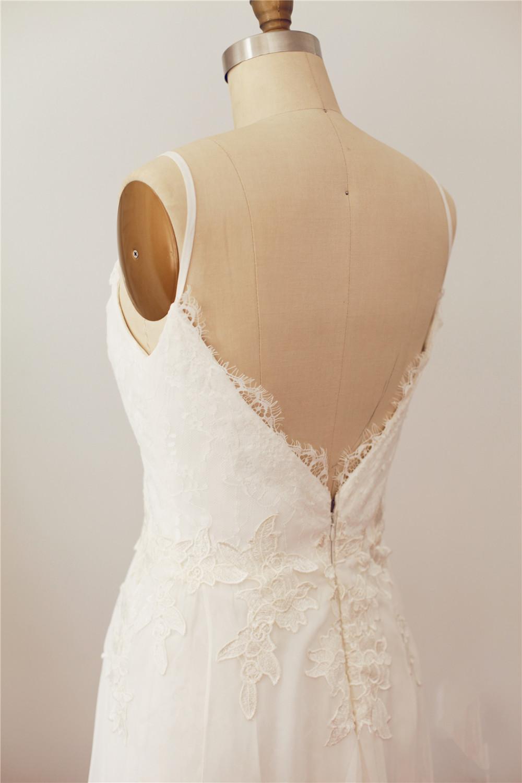 Wedding Dresses For Thin Brides : Lace chiffon thin straps wedding dresses bridal gown