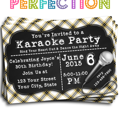 Misc Theme Invitations Printable Perfection Online Store - Birthday invitation karaoke