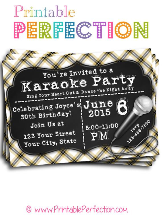 Birthday party invitation karaoke party horizontal printable birthday party invitation karaoke party horizontal stopboris Choice Image