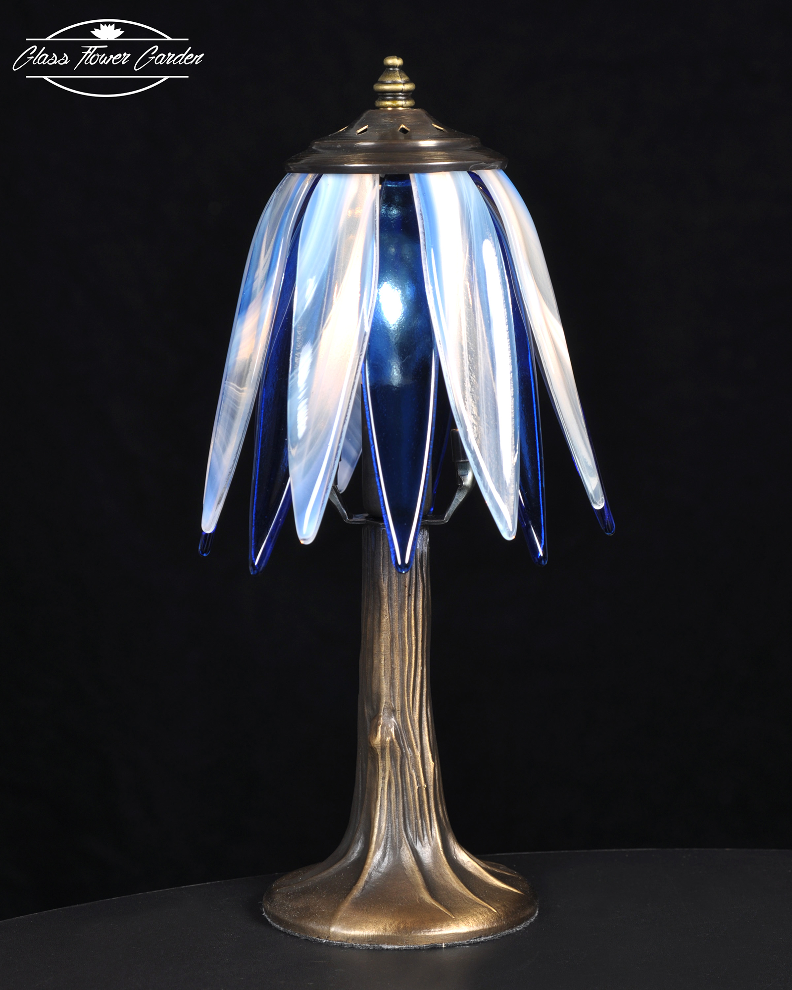 Blue White Glass Shade Lamp Glass Flower Garden Online Store