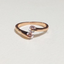 Double the crystal ring - Rose gold