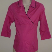 Hot Pink/Black Career Top-Announcements Maternity Size Medium  GS513