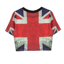 Union Flag Print Crop T-Shirt