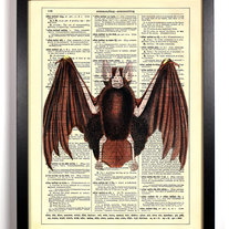 Image of Vampire Bat, Vintage Dictionary Print, 8 x 10
