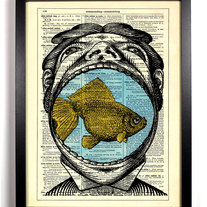 Image of Mouth Full Of Fish, Vintage Dictionary Print, 8 x 10