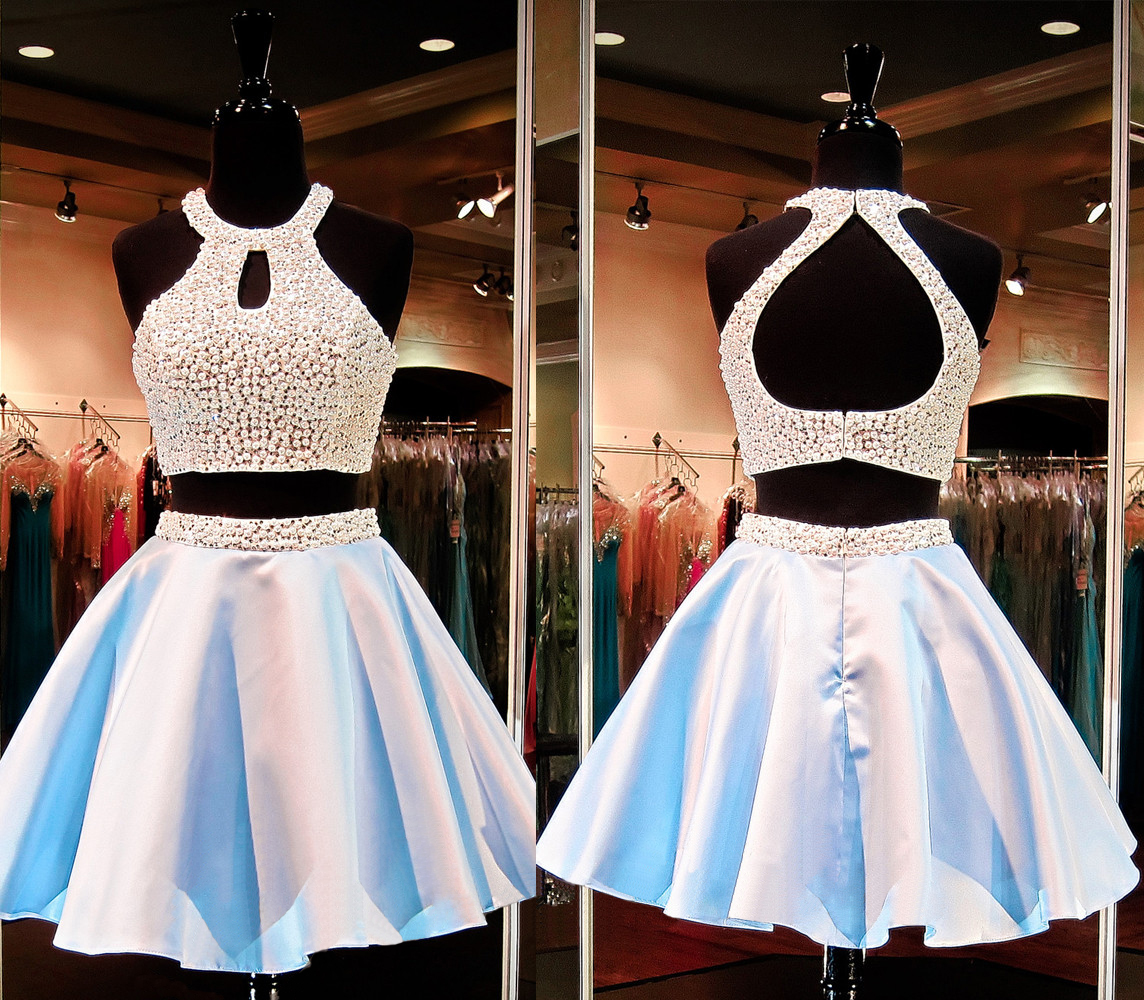 Short homecoming dress, two piece prom dress, beading homecoming ...