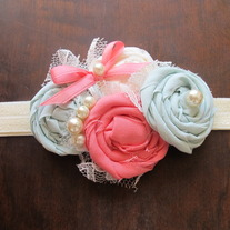 Mint and Coral Rosettes headband