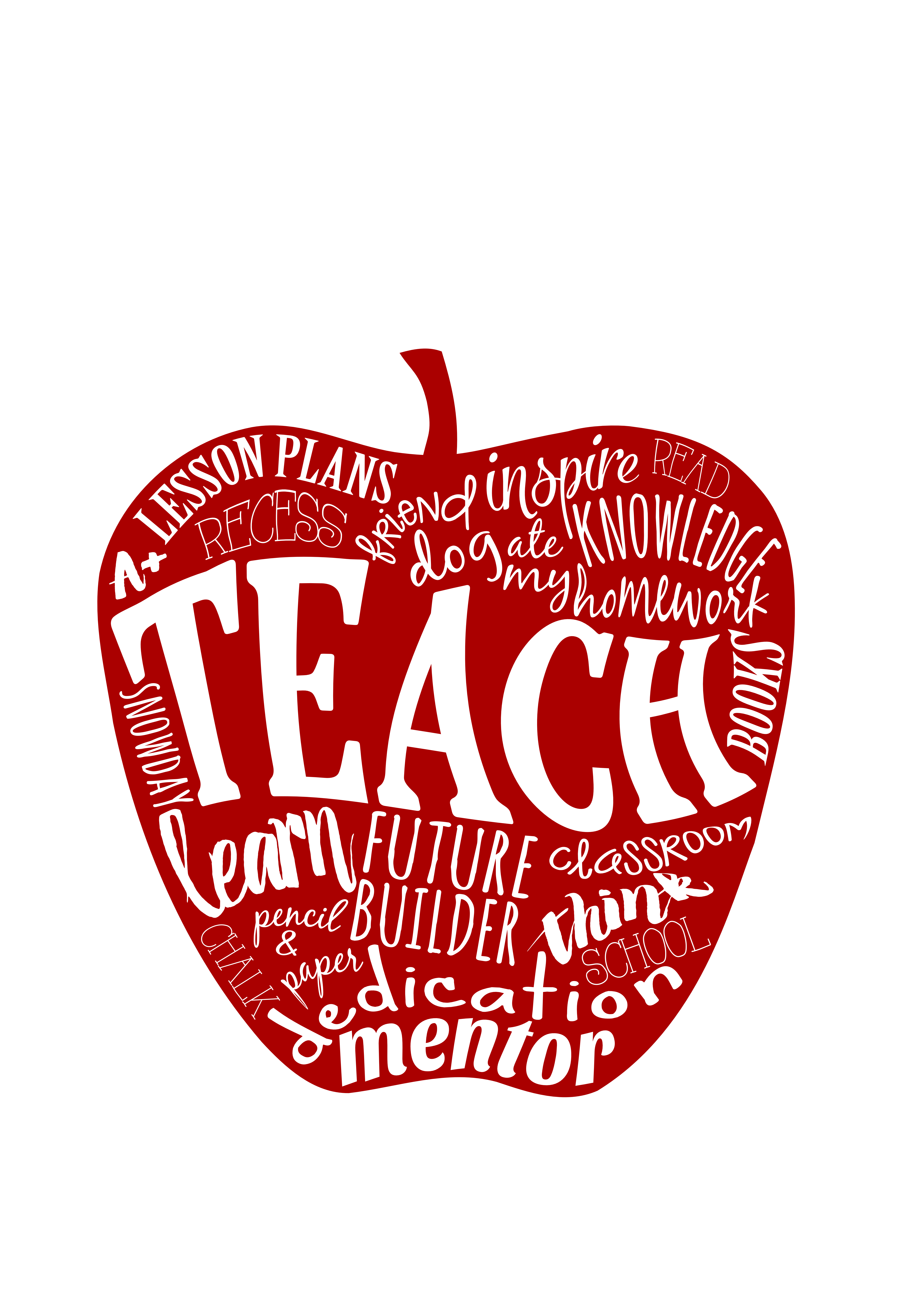 teacher gift 8x10 matted 5x7 print red teach word art apple thumbnail - Teacher Pictures To Print