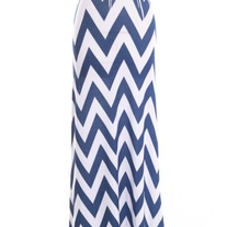 Navy Chevron Maxi Skirt